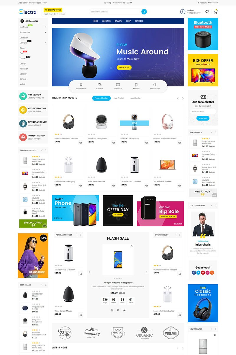 "Shopify Theme namens ""Electra Electronics"" #85946"
