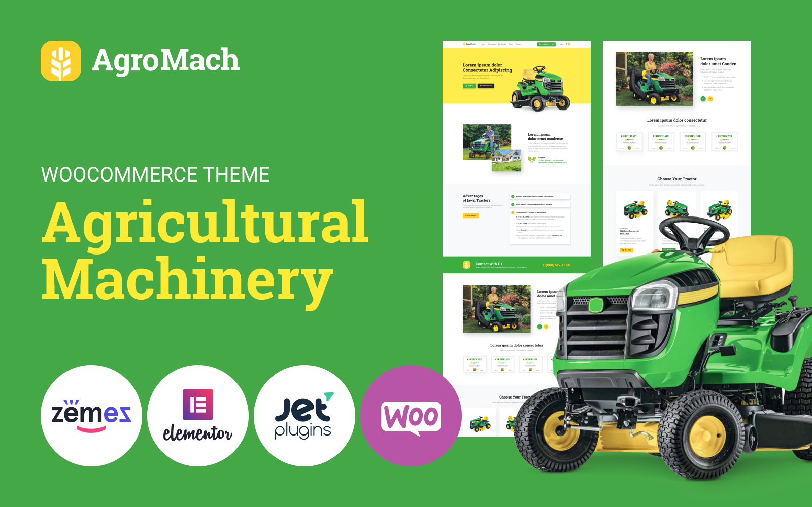 """Tema WooCommerce """"AgroMach - Agricultural Machinery with the Online Store"""" #85949"""