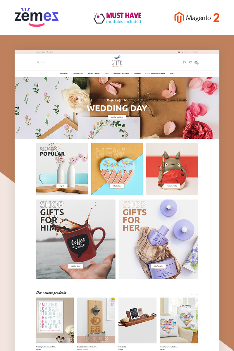 """Template Magento Responsive #85939 """"Gifto - Gifts Store Clean eCommerce"""""""