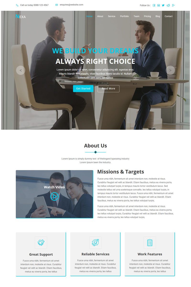 """Template Muse Responsive #85909 """"Nexa - One Page Parallax"""""""