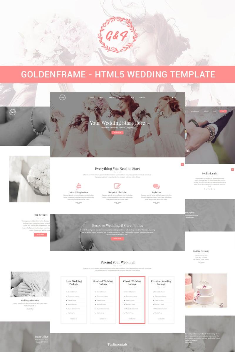 "Template Siti Web Responsive #85945 ""Goldenframe - Wedding"""