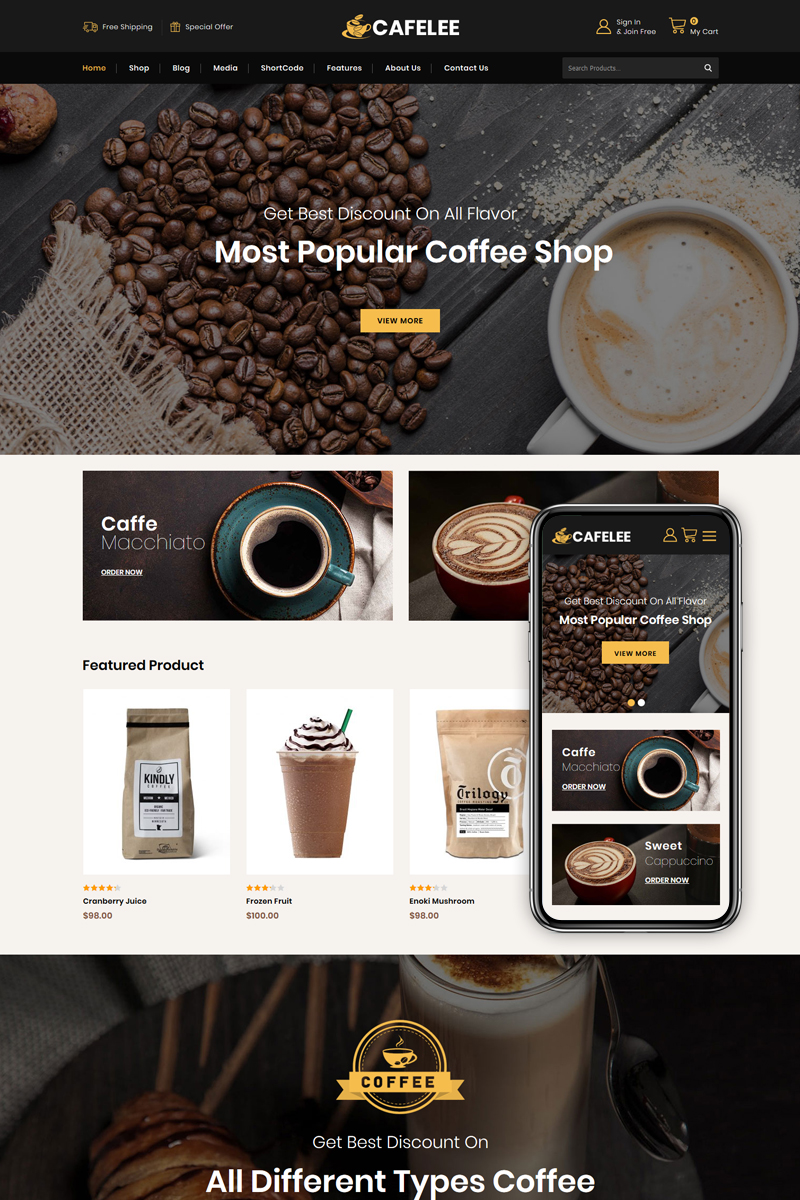 """Cafelee - Food & Restaurant Store"" Responsive WooCommerce Thema №86038 - screenshot"