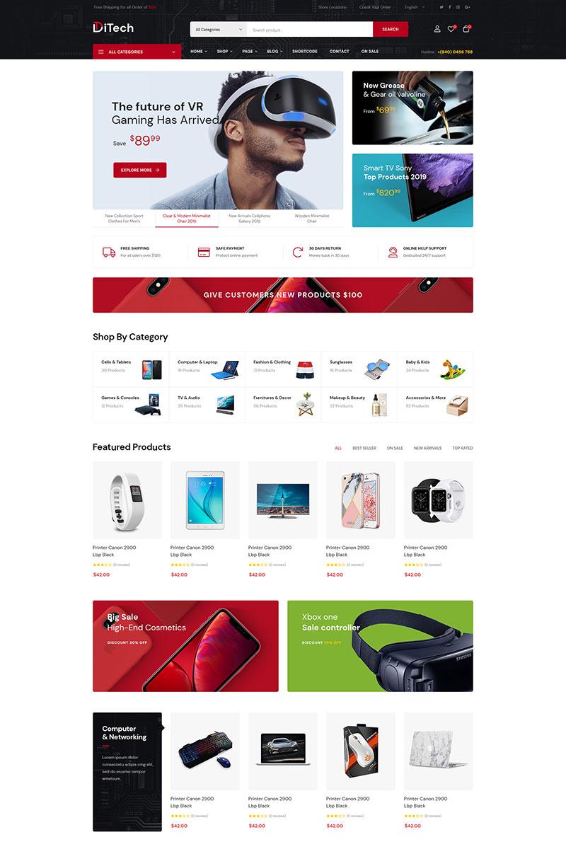 """Ditech - Online Supermarket"" - bootstrap WooCommerce шаблон №86078"