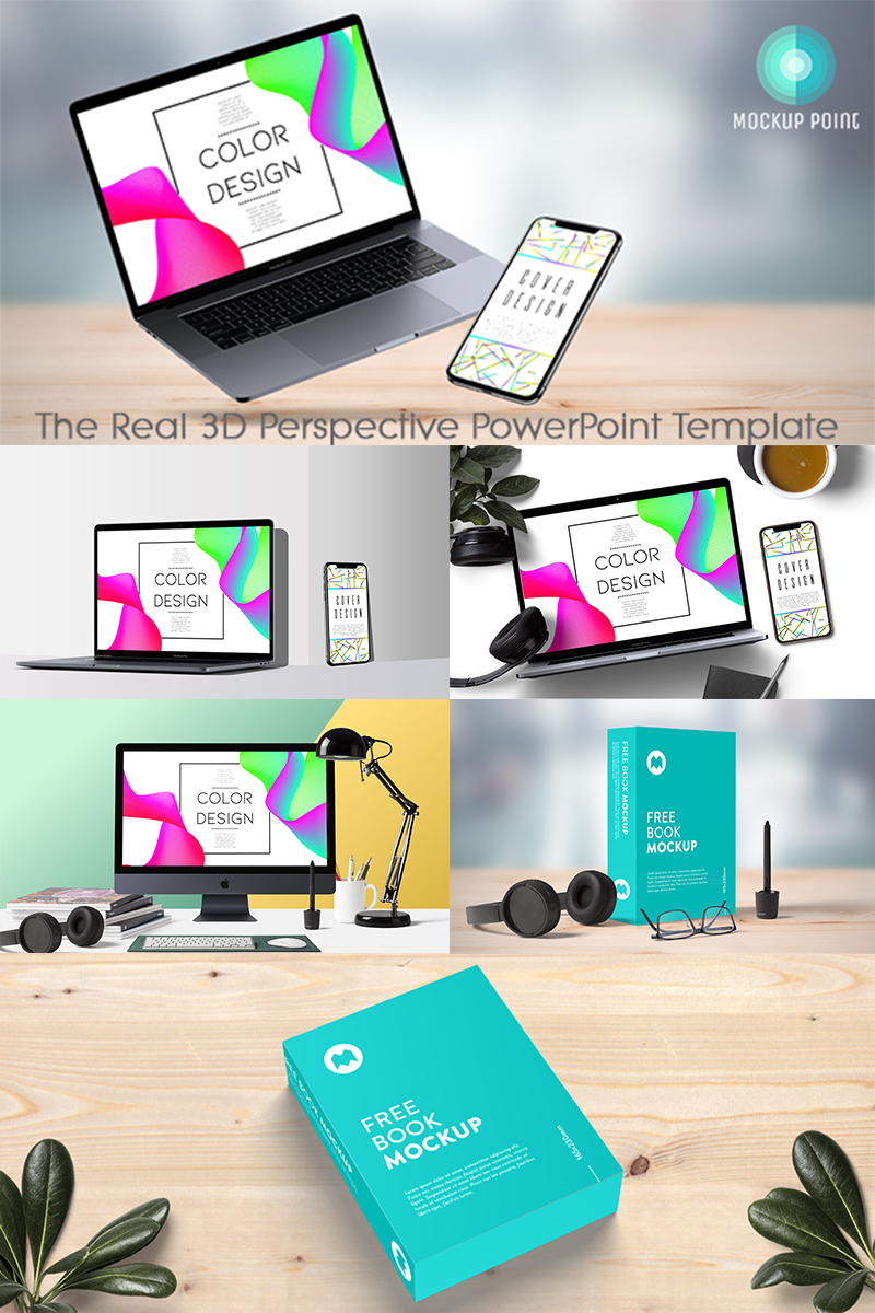 MockupPoint - PowerPoint 3D Perspective App Showcase Mockup de Produto №86048