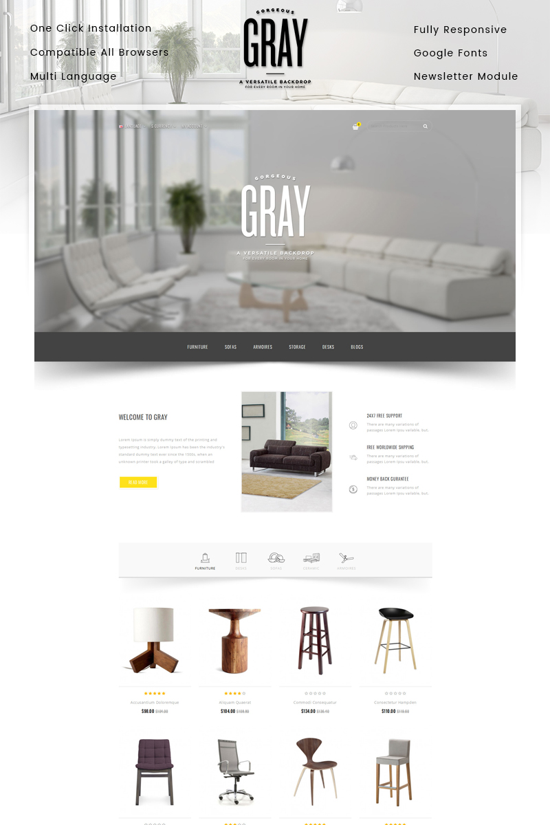 "Modello OpenCart Responsive #86039 ""Gray Furniture Store"""