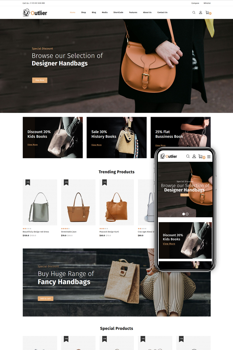 """Outlier - Handbag Store"" - адаптивний WooCommerce шаблон №86051"