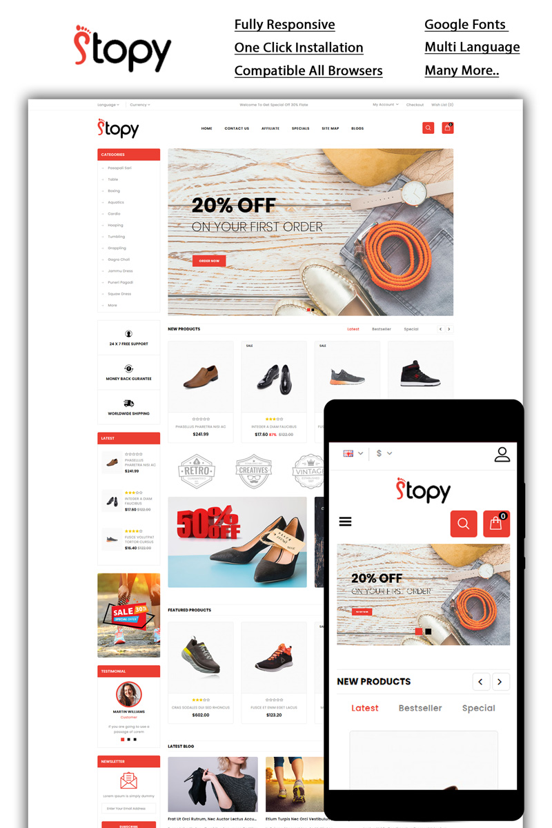 """Plantilla OpenCart """"Stopy - Shoes Store"""" #86077 - captura de pantalla"""