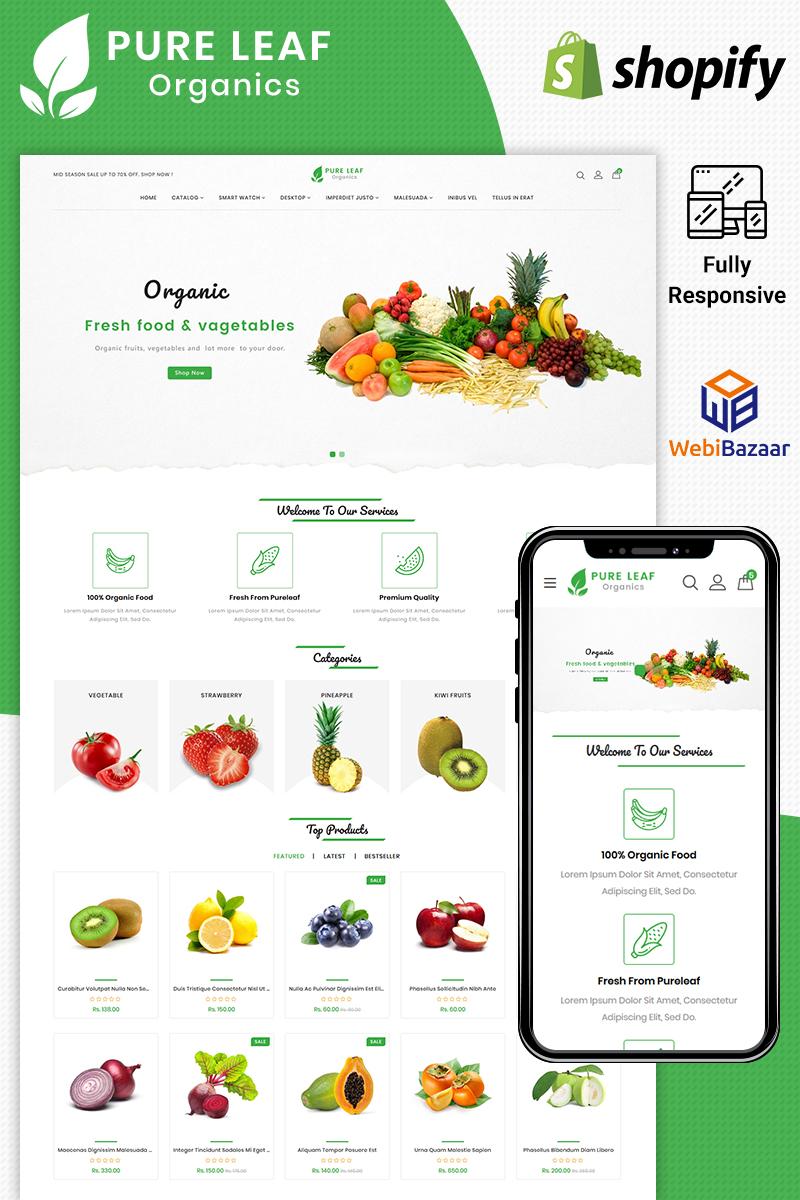 """Pureleaf Organic"" - адаптивний Shopify шаблон №86041"