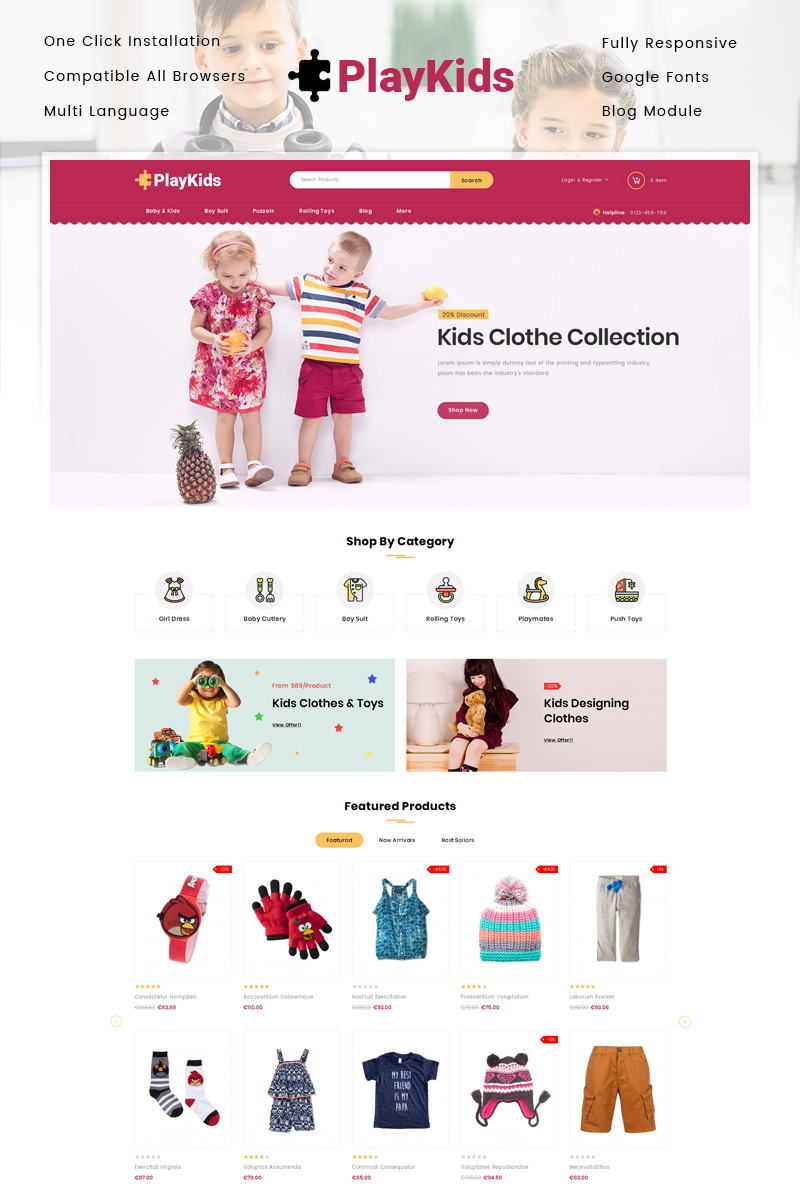 Responsive PlayKids - Kids Store Prestashop #86099