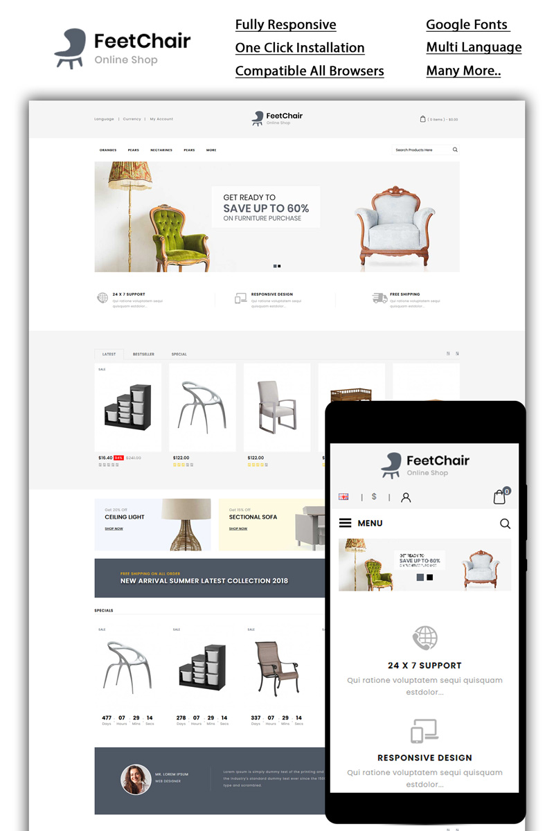 Responsivt Feetchair - Online Shop OpenCart-mall #86050 - skärmbild