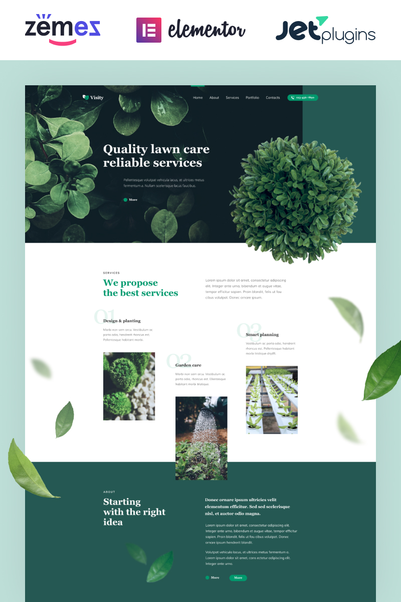 "Responzivní WordPress motiv ""Visity - Landscape Design with Elementor"" #86052"