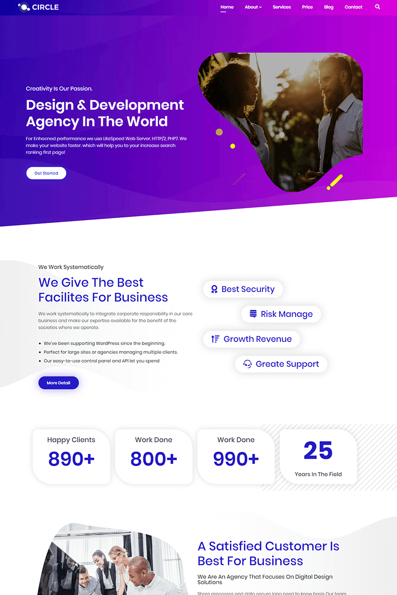 Reszponzív Circle - Multipurpose Agency WordPress sablon 86042
