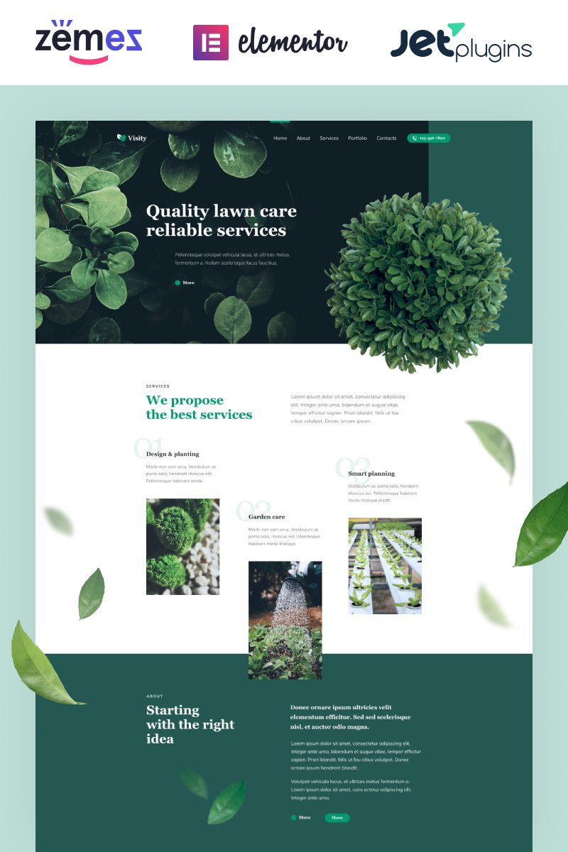 "Tema De WordPress ""Visity - Landscape Design with Elementor"" #86052"