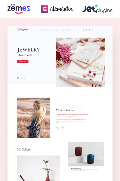 Virginia - Website Template for Handmade Jewelry with Elementor Builder