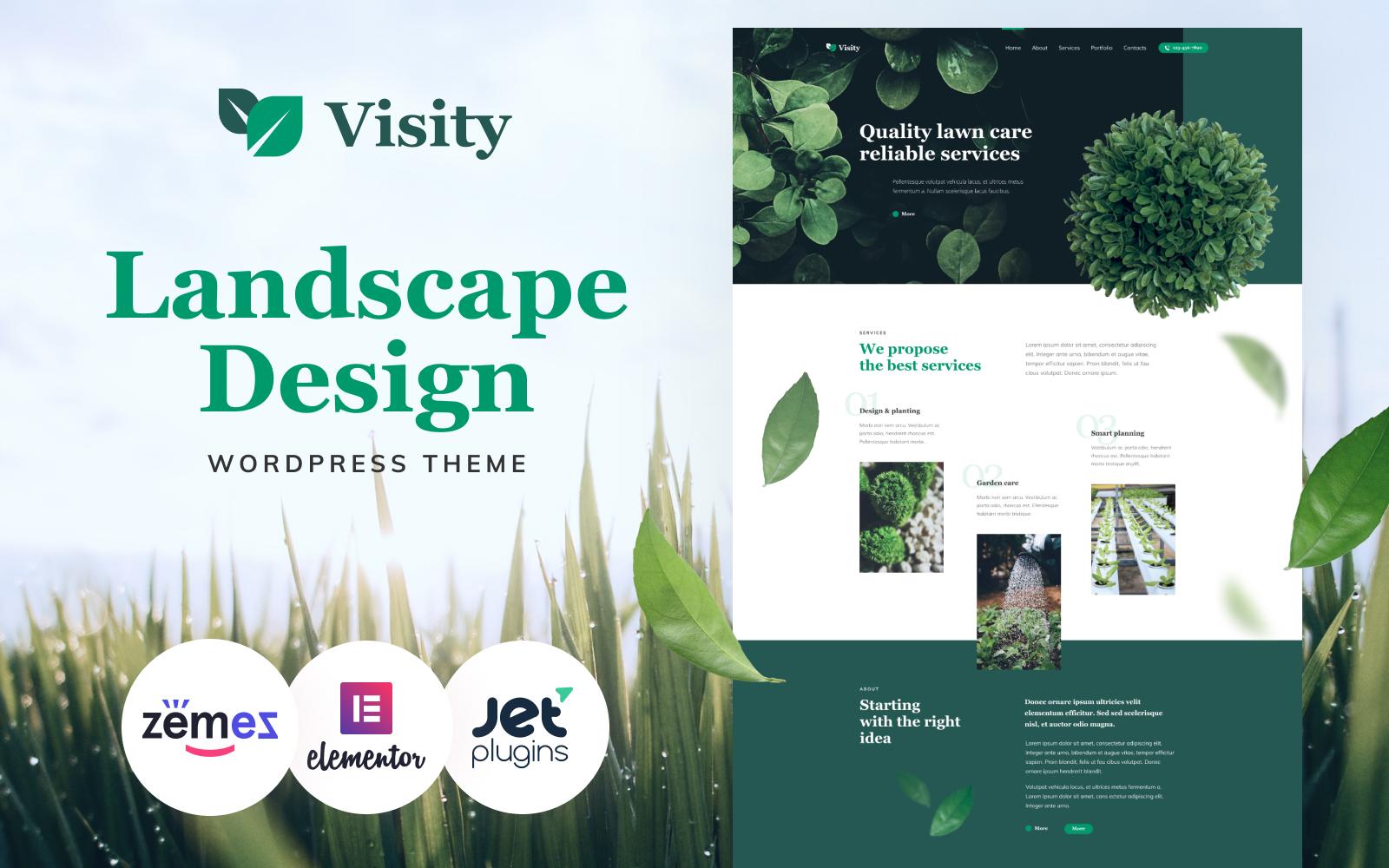 """Visity - Landscape Design with Elementor"" 响应式WordPress模板 #86052"