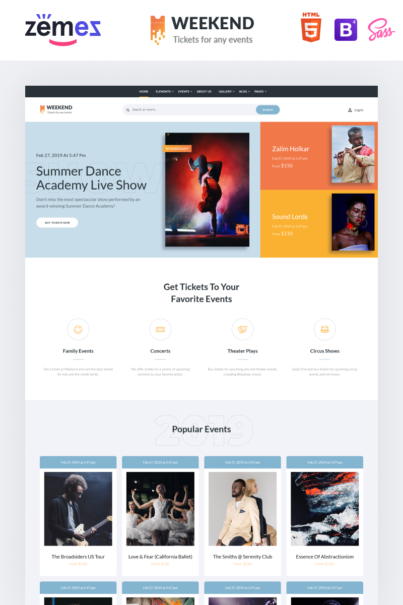 """""""Weekend - Tickets Multipage Creative HTML"""" Responsive Website template №86057"""