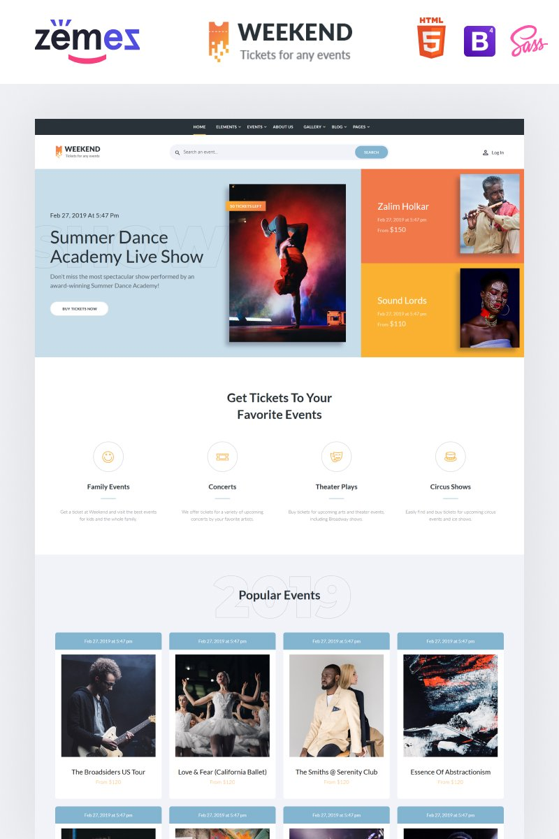 """""""Weekend - Tickets Multipage Creative HTML"""" 响应式网页模板 #86057"""