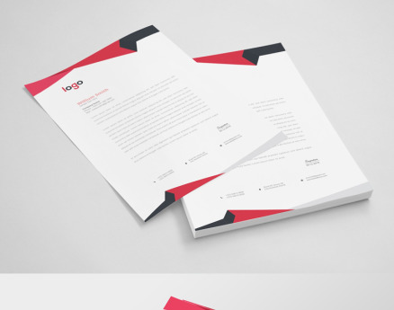 Red Abstract Letterhead Corporate Identity