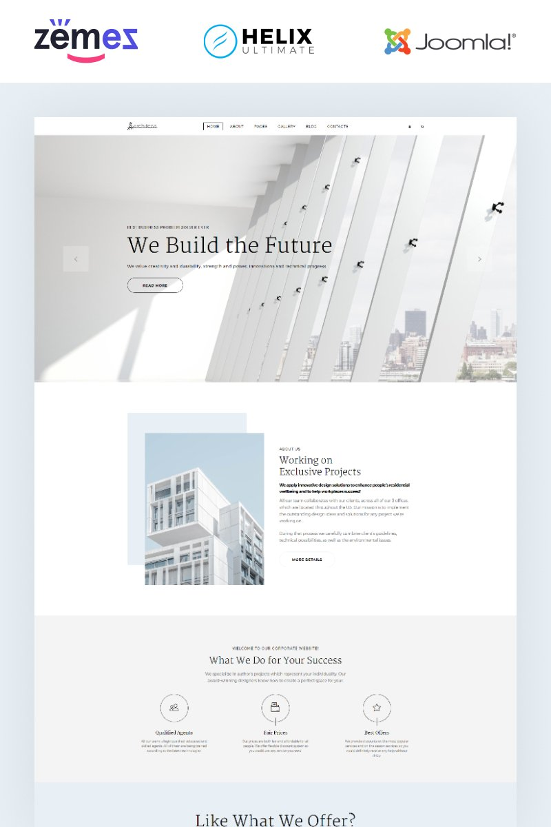 """Architeca - Architecture Agency Multipage Stylish"" Responsive Joomla Template №86175 - screenshot"