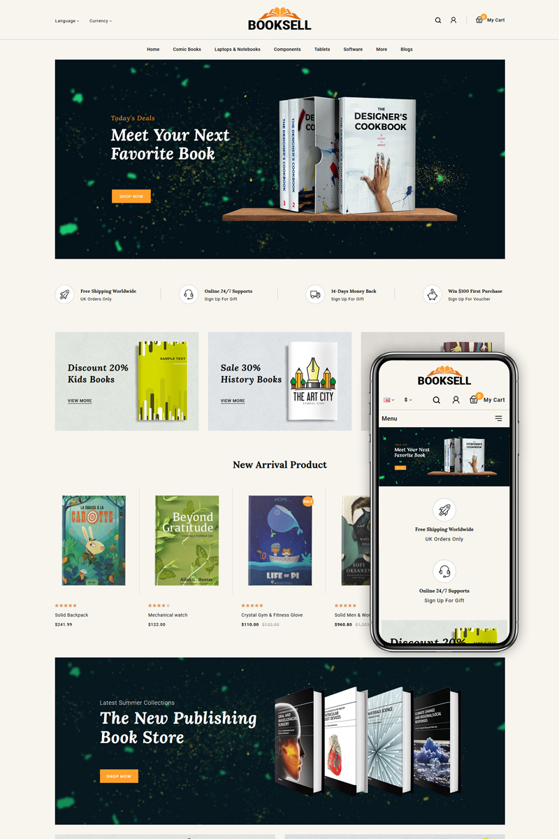 """""""Booksell - Stationery Store"""" Responsive OpenCart Template №86134 - screenshot"""