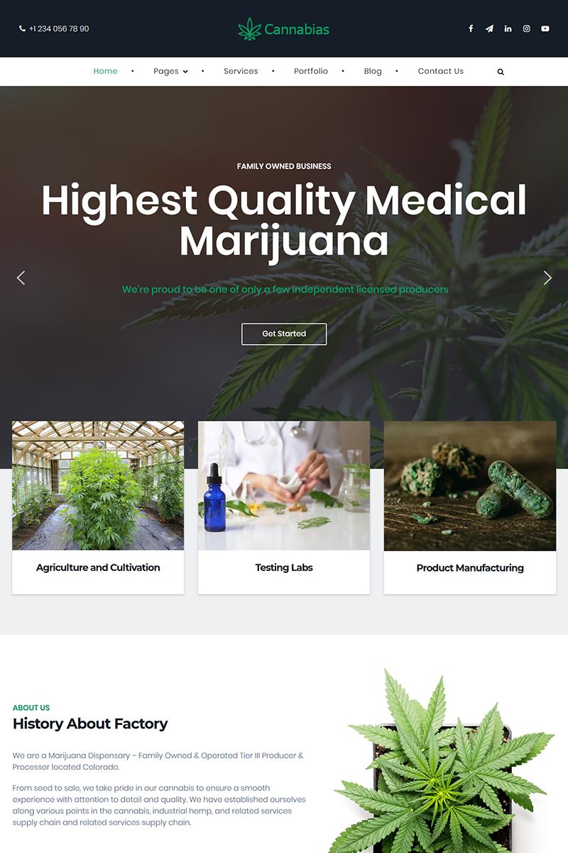 """Cannabias medical marijuana business"" - адаптивний WordPress шаблон №86132 - скріншот"