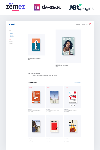 E-book - e-book website theme with widgets for Elementor