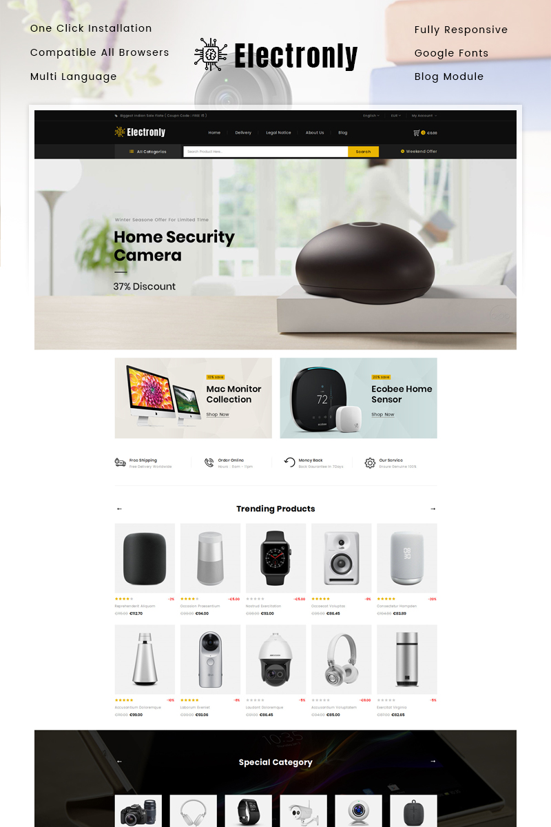"""Electronly - Digital Store"" Responsive PrestaShop Thema №86120"