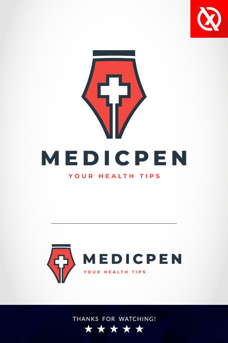 Health Blog Writer - Medical Pen Logo Template - screenshot