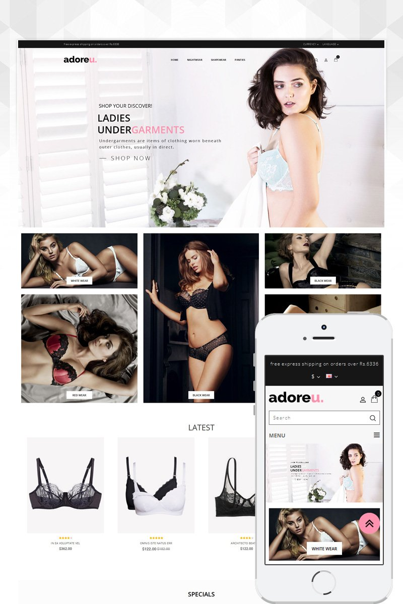 """Lingerie Store"" Responsive OpenCart Template №86123"