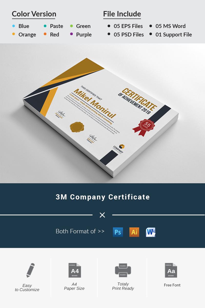 3M Company Certificate Template