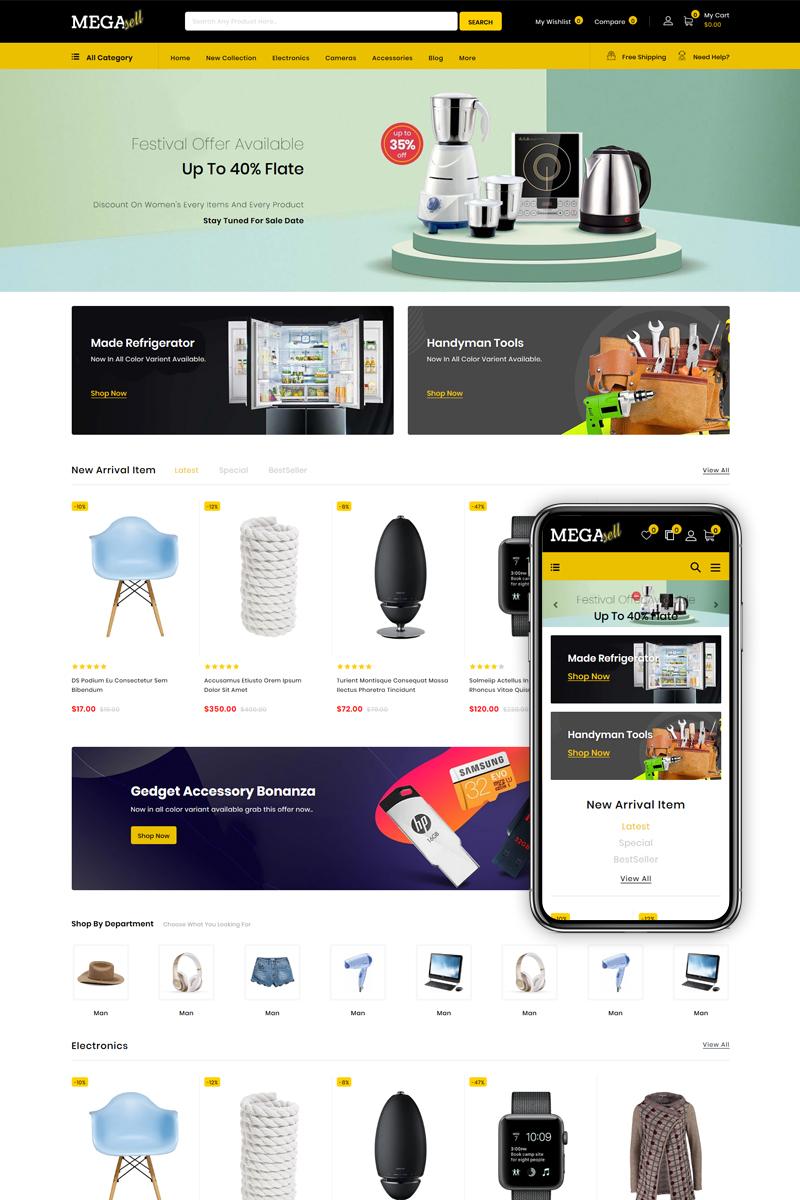 """MegaSell - Multipurpose Store"" - адаптивний Shopify шаблон №86130"