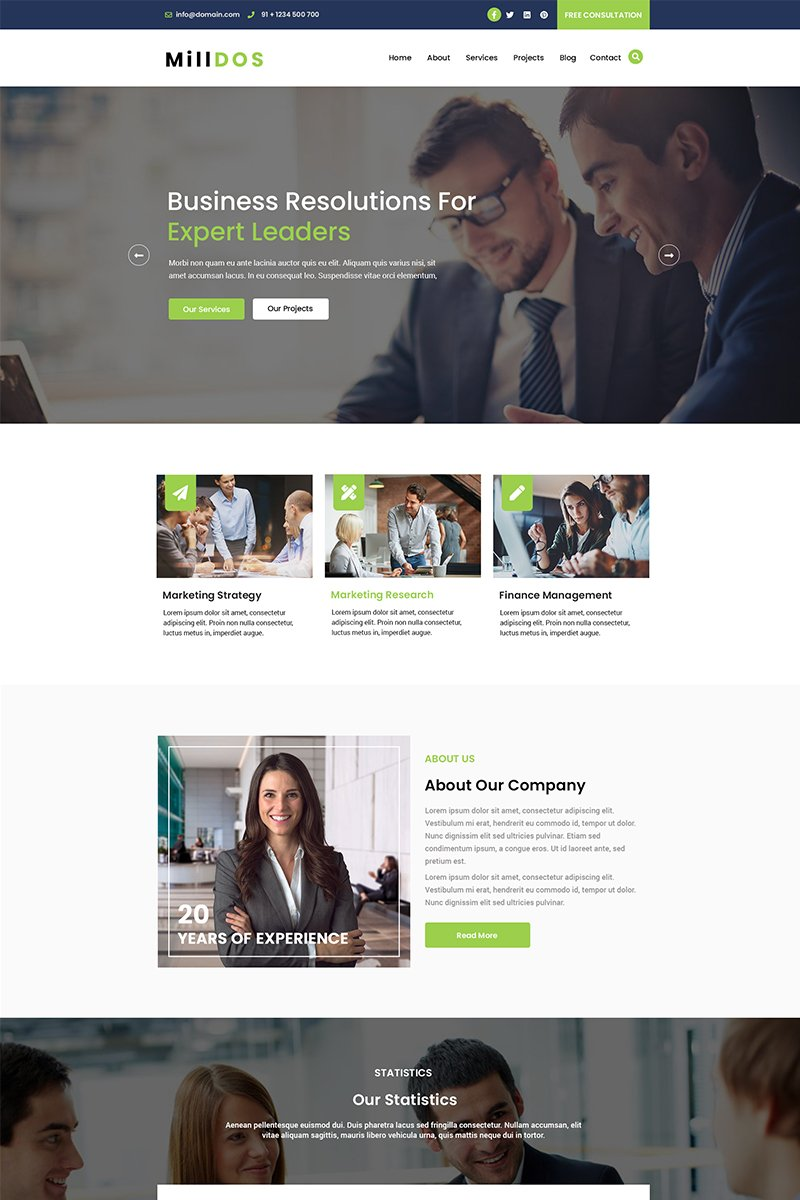 MillDos Finance | Business Consulting PSD Template