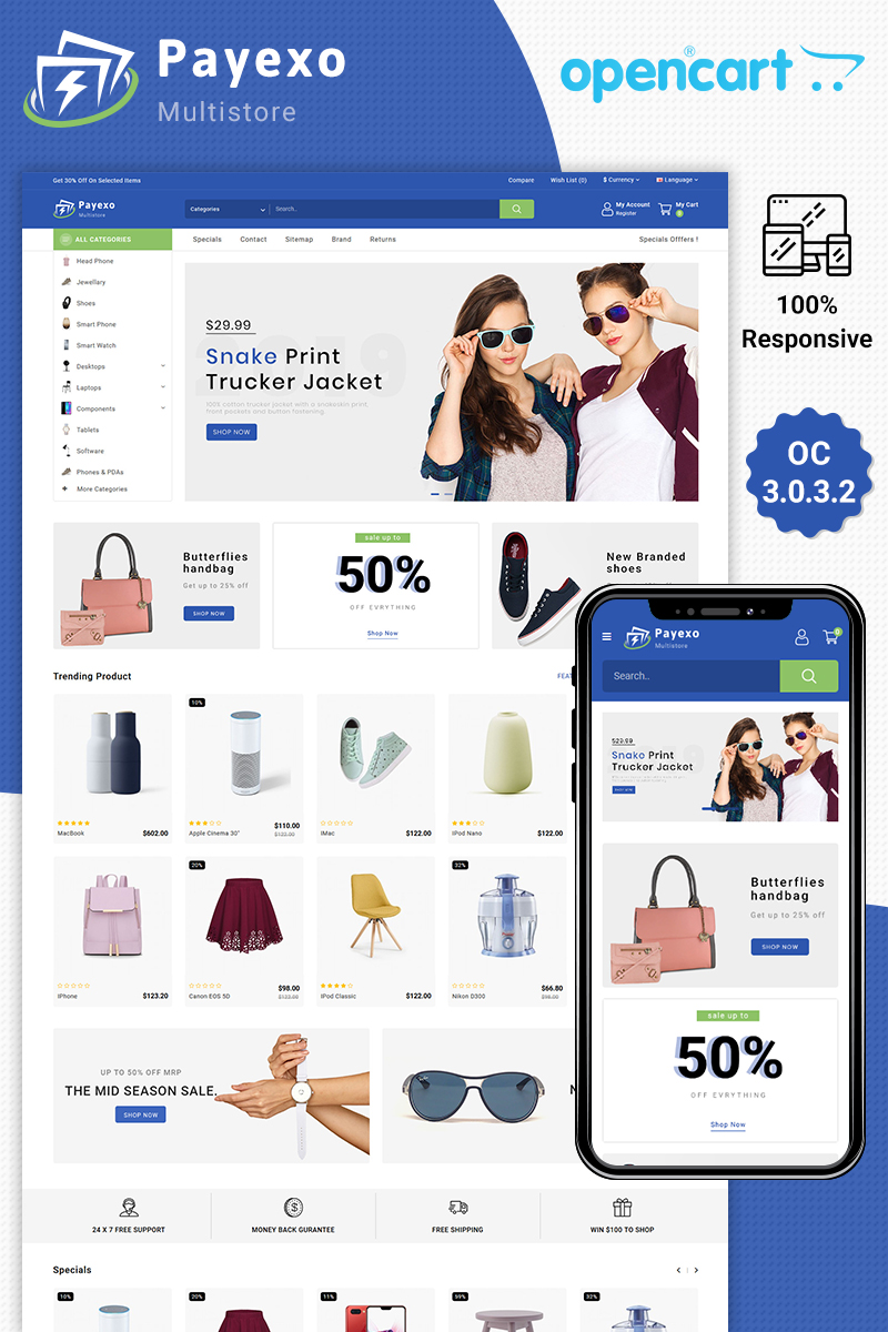 """Payexo The Best Fashion Store"" Responsive OpenCart Template №86159 - screenshot"