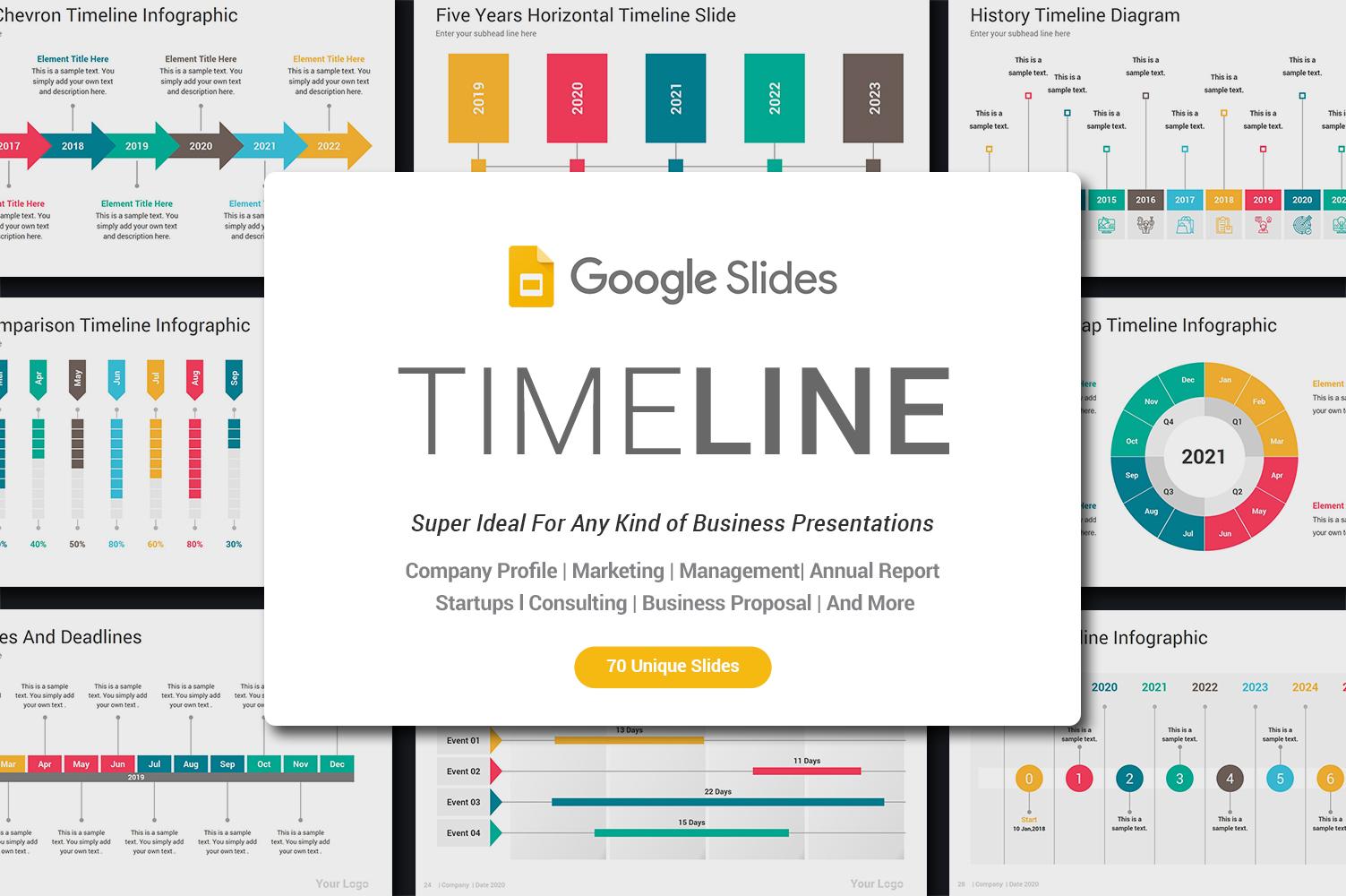 Premium Timeline Google Slides #86138