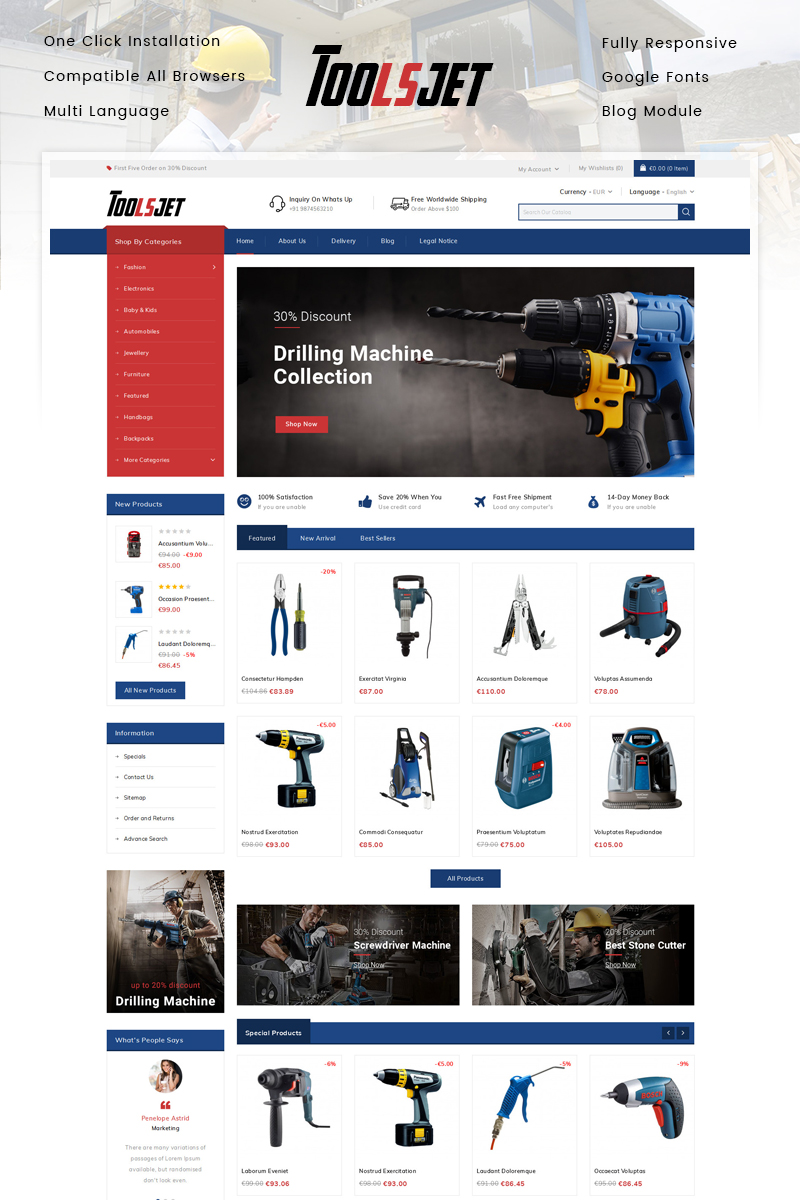 "PrestaShop Theme namens ""Toolsjet - Hardware Store"" #86161"