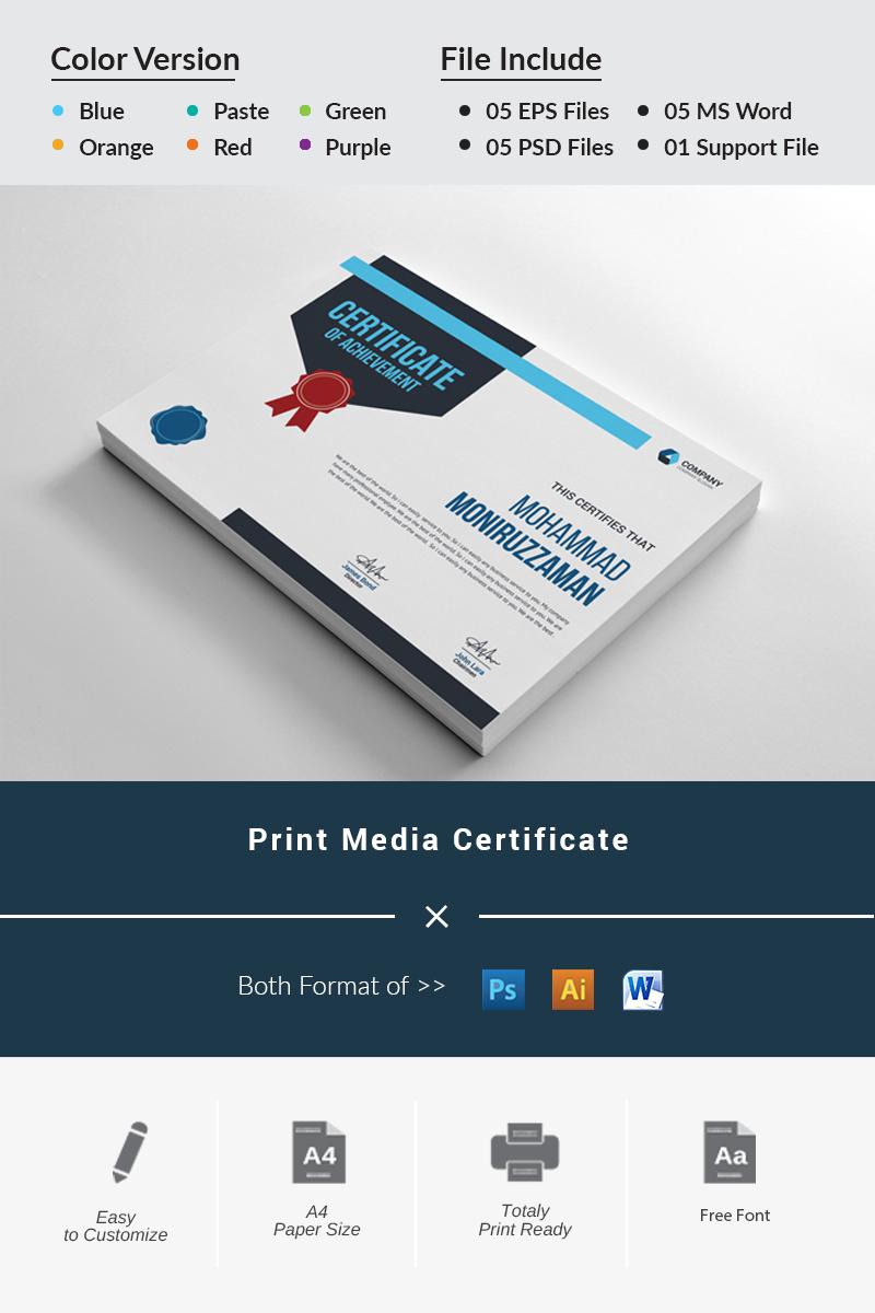 Print Media Certificate Template - screenshot