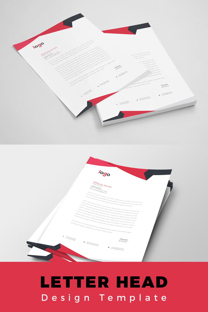 """Red Abstract Letterhead"" Bedrijfsidentiteit template №86191 - screenshot"