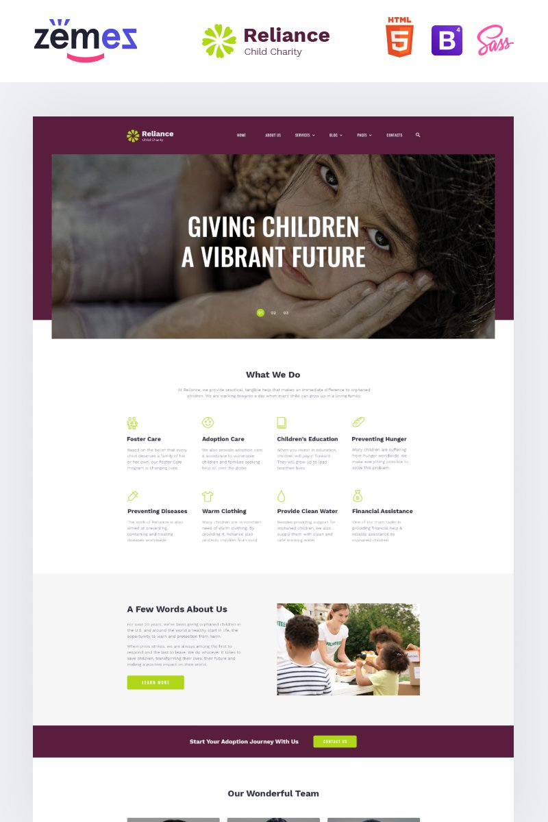Reliance - Kids Charity Multipage Modern HTML Website Template