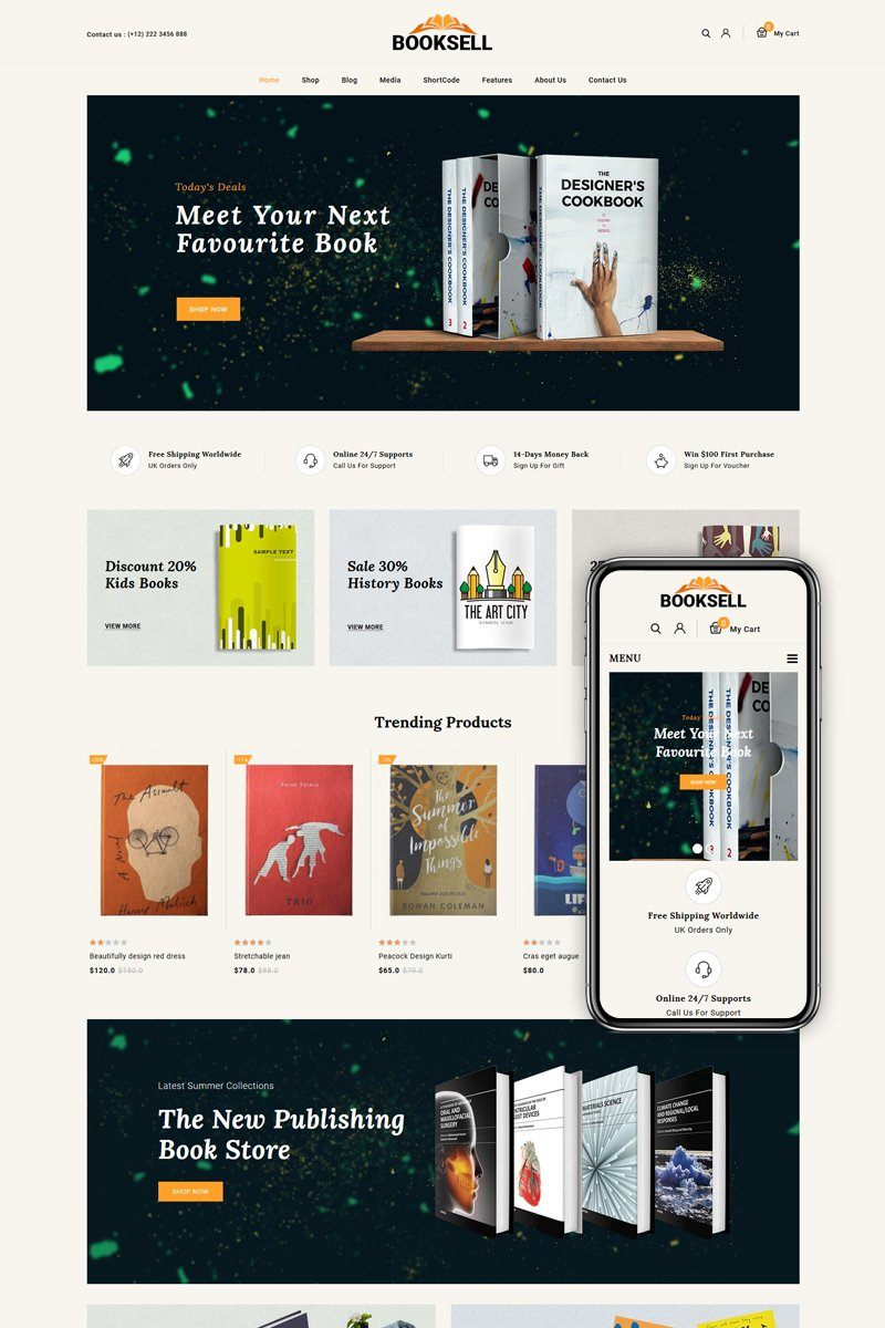Responsivt Booksell - Books & Stationery Store WooCommerce-tema #86100