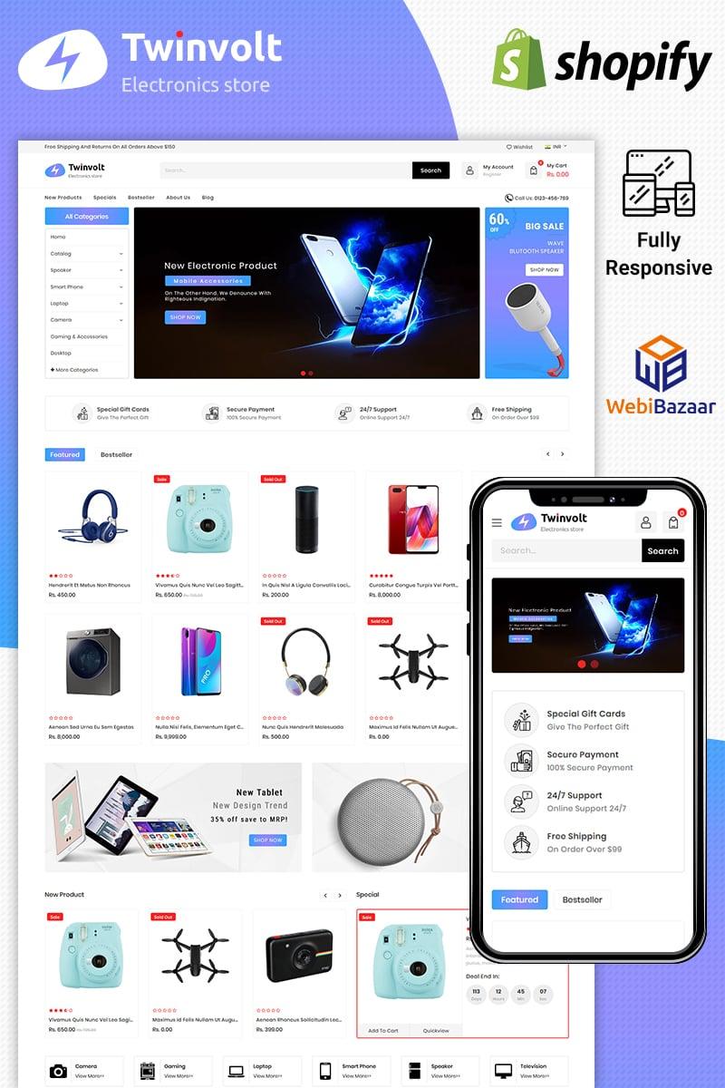 Responsivt Twinvolt Electronic Shopify Theme Shopify-tema #86112