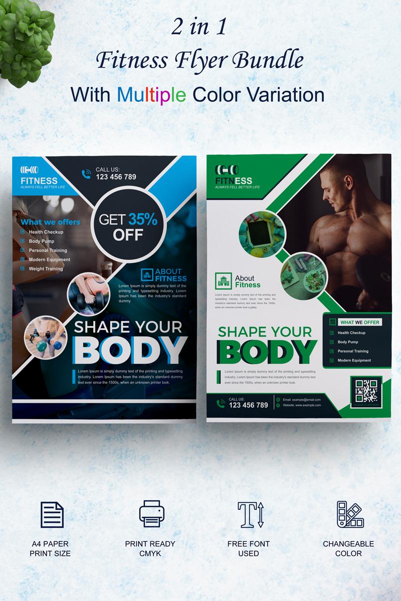 Responsywny szablon tożsamości korporacyjnej Fitness Flyer Bundle #86168