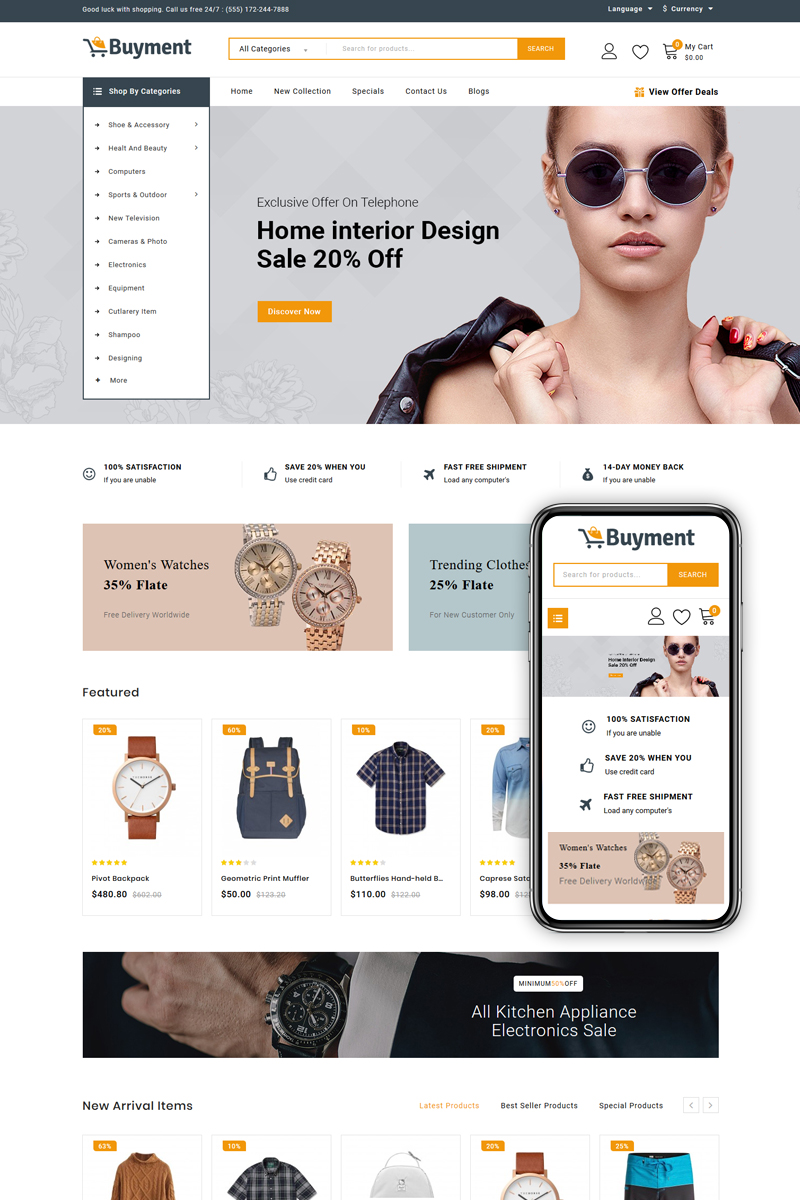 "Responzivní OpenCart šablona ""Buyment - Mega Store"" #86196 - screenshot"