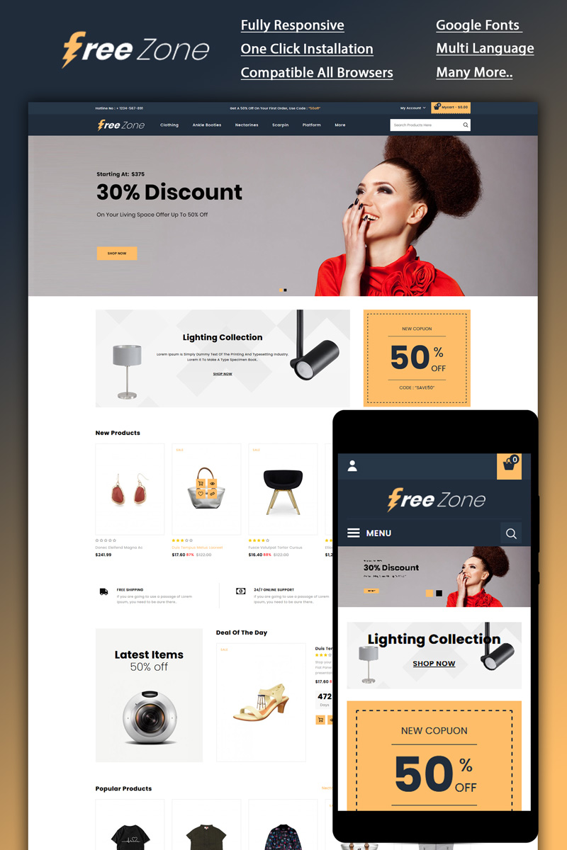 "Responzivní OpenCart šablona ""Freezone - Multi Store"" #86194 - screenshot"