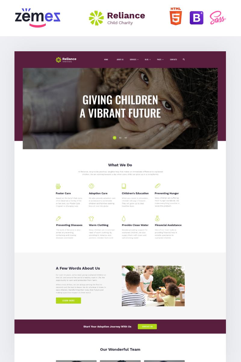 Reszponzív Reliance - Kids Charity Multipage Modern HTML Weboldal sablon 86103