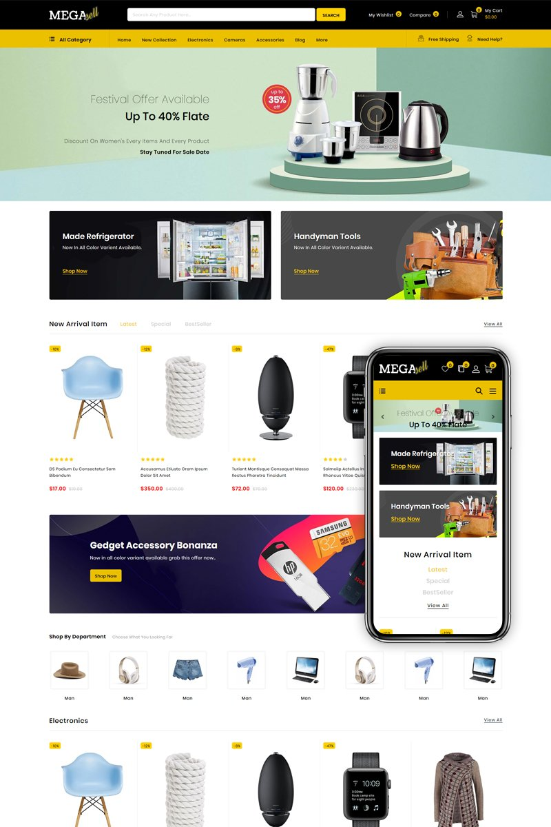 "Tema Shopify ""MegaSell - Multipurpose Store"" #86130"
