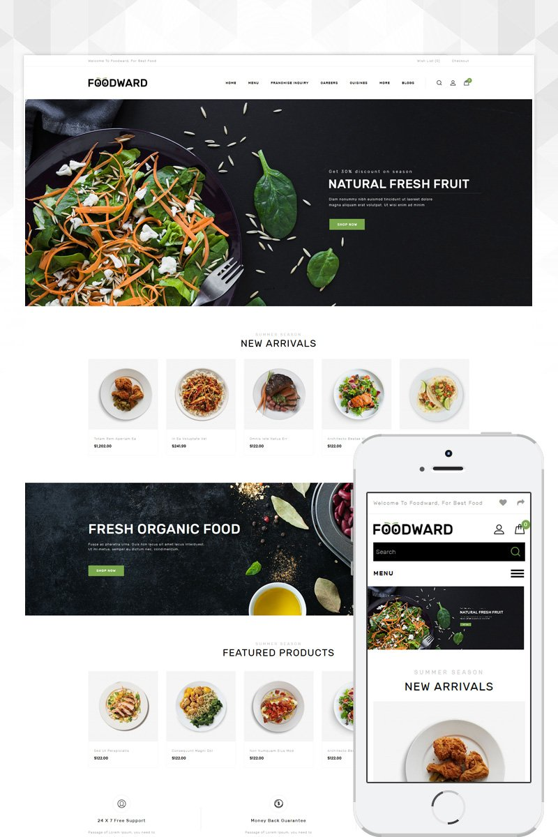 "Template OpenCart Responsive #86101 ""Foodward - Restaurant Store"""