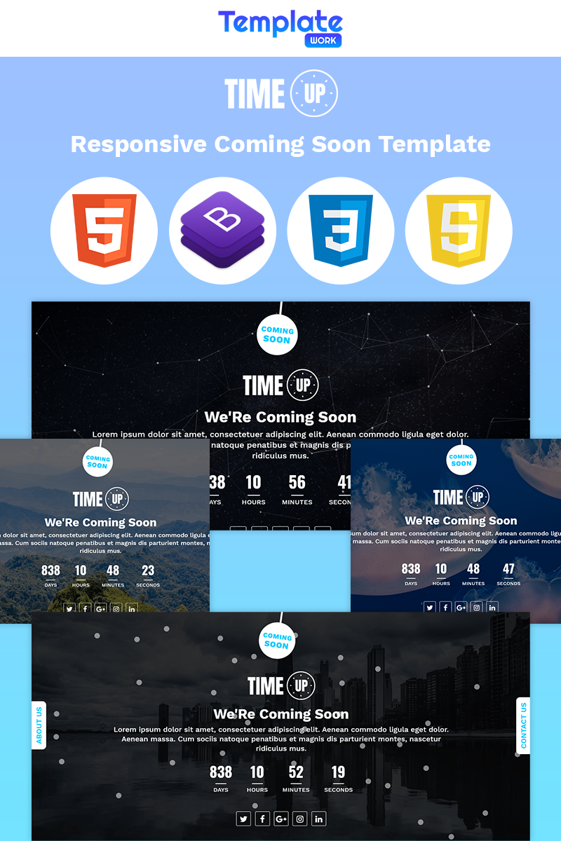 """""""Time Up - Coming Soon"""" 响应式特色页面 #86195"""