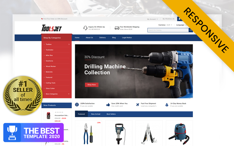 """Toolsjet - Hardware Store PrestaShop Theme"" Responsive PrestaShop Thema №86161"