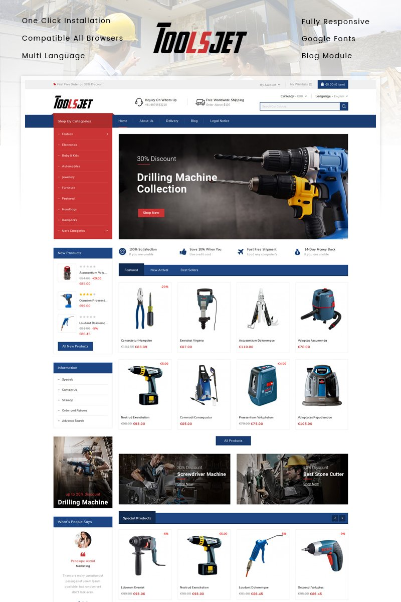 Toolsjet - Hardware Store PrestaShop Theme - screenshot