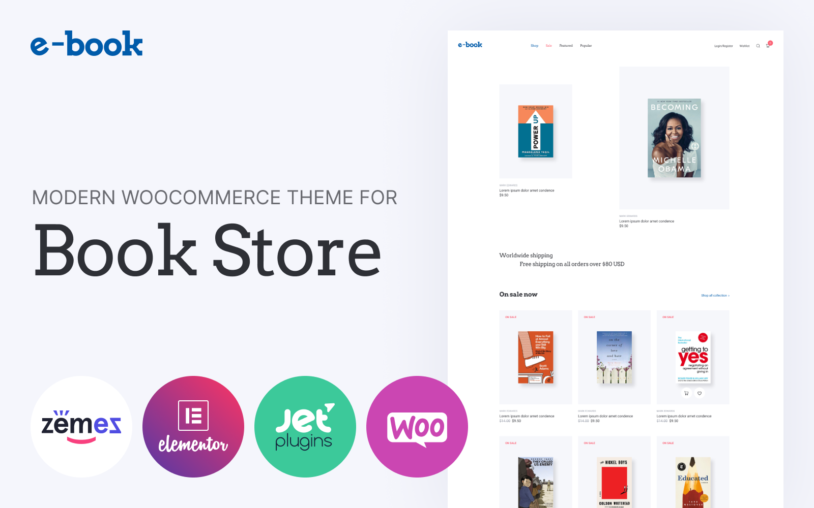 """WooCommerce Theme namens """"E-book - e-book website theme with widgets for Elementor"""" #86127"""